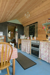 Shabby chic kitchen for cabin guests | Sweet Donside Cabins and Sweetheart Cottage